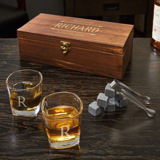 Engraved Whiskey Stone Box Set with 2 Glasses