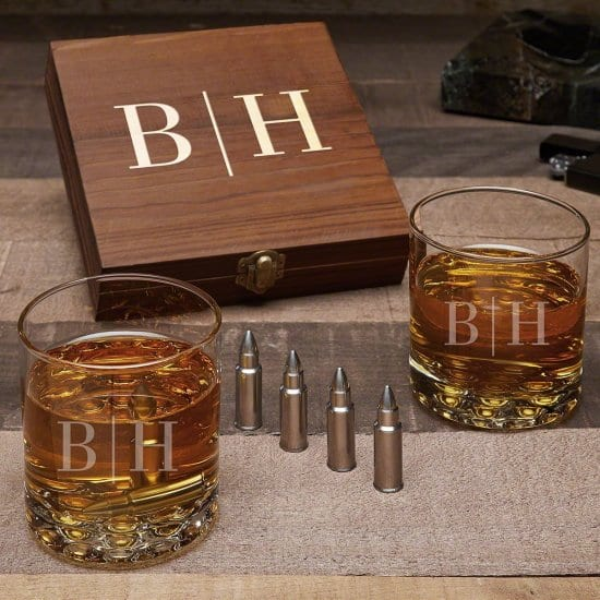 Engraved Bullet Whiskey Stone Set with Two Glasses