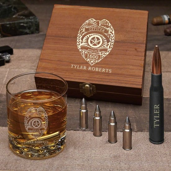 Personalized Gun-Themed Whiskey Gift Set Police Officer Gift