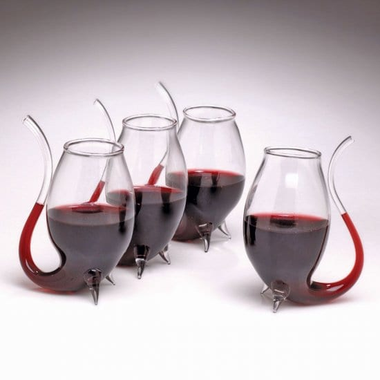 Set of 4 Unique Wine Glasses with Straws