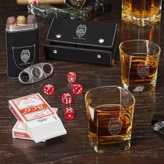 Personalized Whiskey and Cigar Game Set for Cops