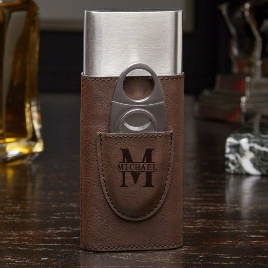 Brown Leather Cigar Case and Cutter