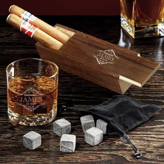Cigar and Whiskey Set Christmas Gift for College Guys