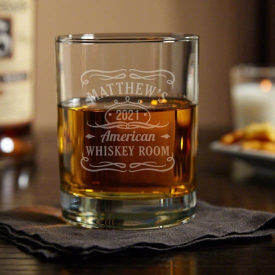 Custom Whiskey Label Glass