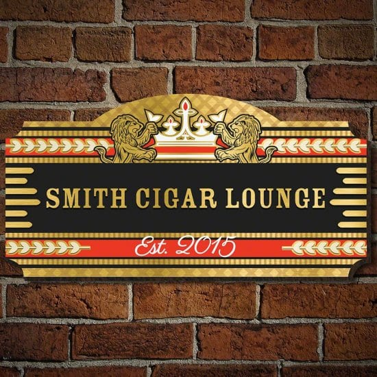 Wooden Gift for Him is a Custom Cigar Lounge Sign