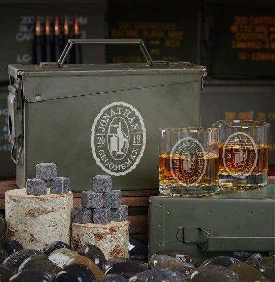 Custom Ammo Can Bourbon Drinking Set
