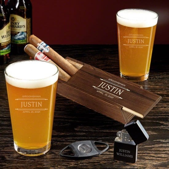 Personalized Pint Glass and Cigar Set