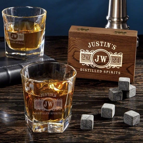 Personalized Double Old Fashioned Glasses with Whiskey Stones