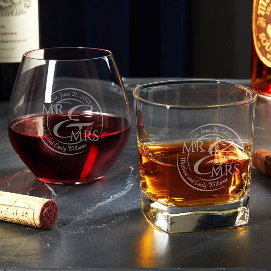 Personalized Wine and Whiskey His and Hers Gifts