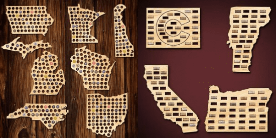 Beer Bottle Cap and Wine Cork Maps of States