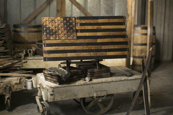 Whiskey Barrel American Flag