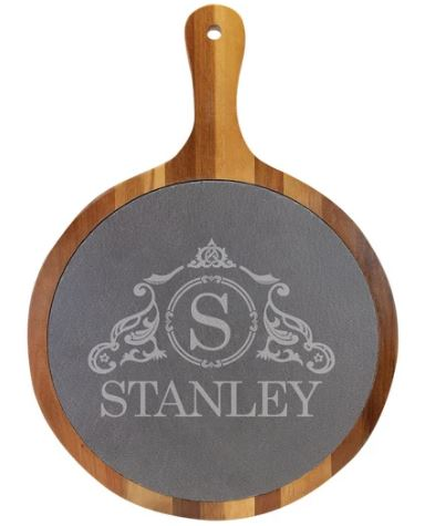 Round Acacia Wood Slate Serving Tray