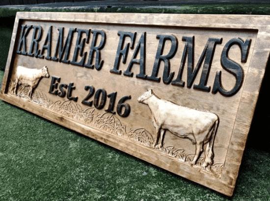 3D Wood Farm Sign