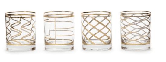 Art Deco Gold Accent Glasses