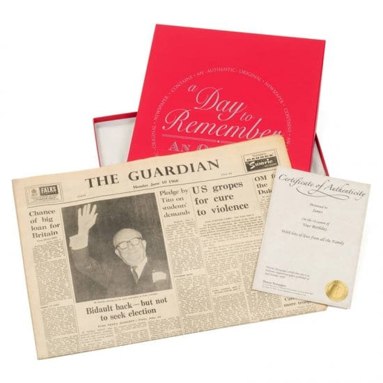Personal Newspaper 60th Birthday Gift Ideas for Men