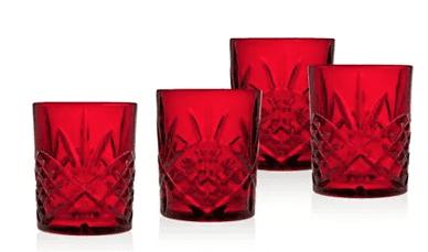 Set of 4 Red Crystal Glasses