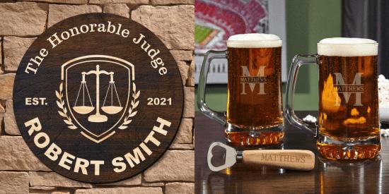 Custom Wall Sign and Beer Mug Set for Lawyers