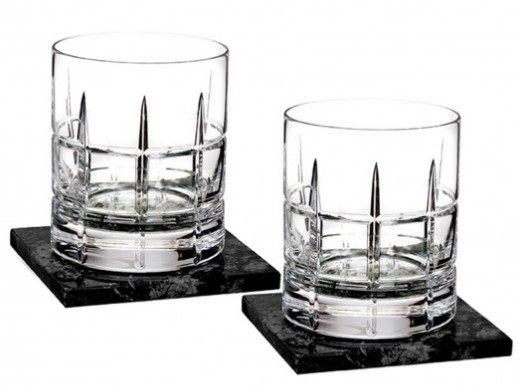 Crystal Old-Fashioned Glasses with Coasters