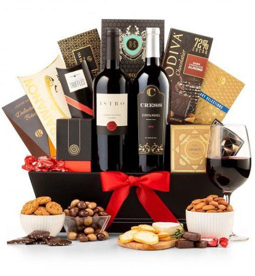 Wine Bottle and Snack Gift Basket