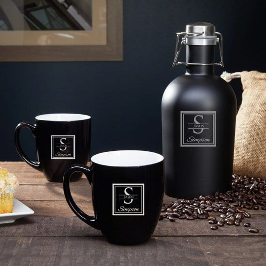 Personalized Coffee Carafe and Mugs