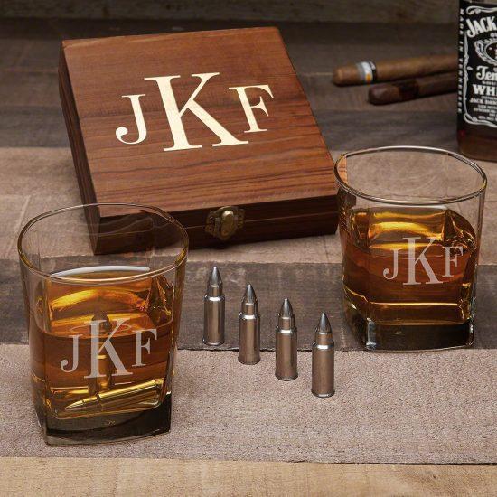 Monogrammed Whiskey Glass and Bullet Whiskey Stone Set
