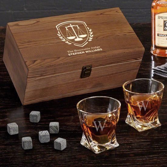 Engraved Twist Whiskey Glass Set