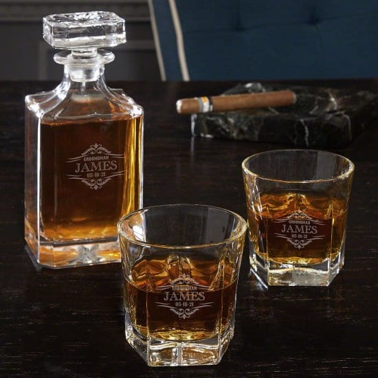 Personalized Whiskey Decanter and Set of 2 Glasses