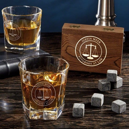 Custom Whiskey Stone Set with Glasses