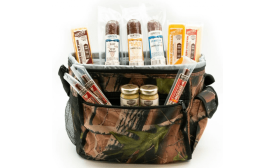 Camouflage Cooler with Beef Jerky Assortment
