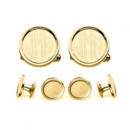 Monogrammed Gold Cufflinks