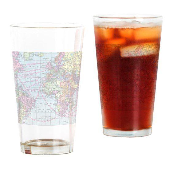 World Map Pint Glass