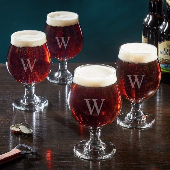 Initialed Craft Beer Snifters, Set of 4