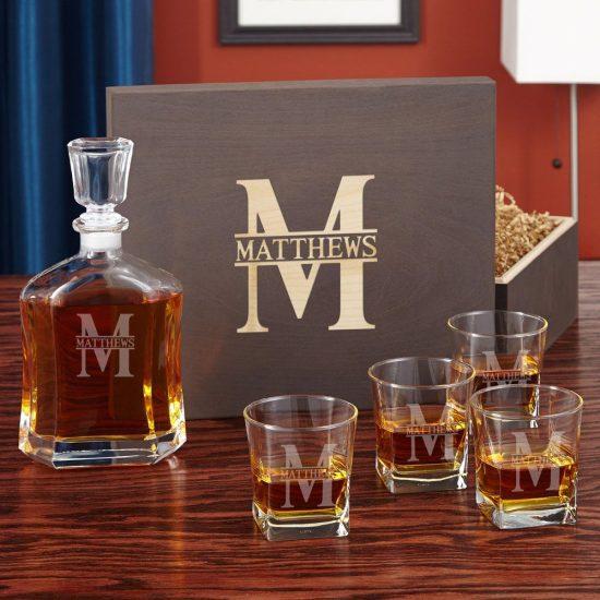 Engraved Whiskey Decanter Drinkware Set