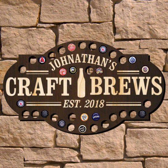 Craft Brews Beer Cap Bar Sign