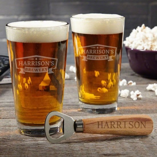 Personalized Pint Glasses and Bottle Opener