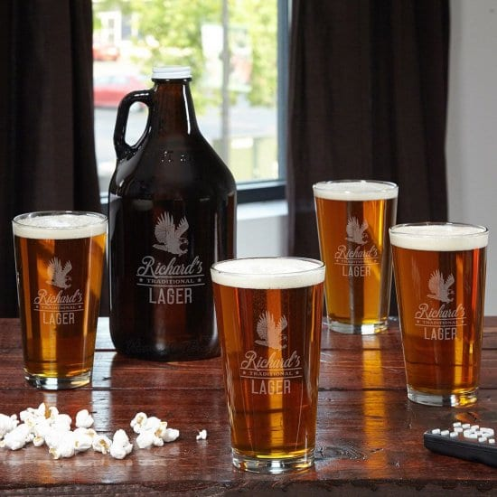 Personalized Beer Growler with Pint Glasses