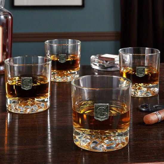 Pewter Crested Whiskey Glasses