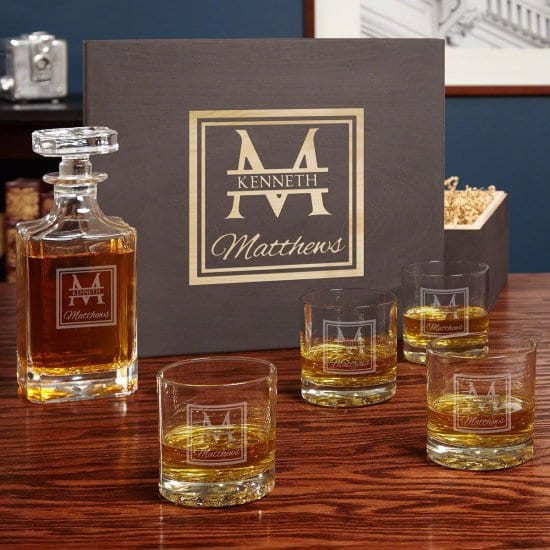 Wooden Whiskey Box with Decanter and 4 Glasses