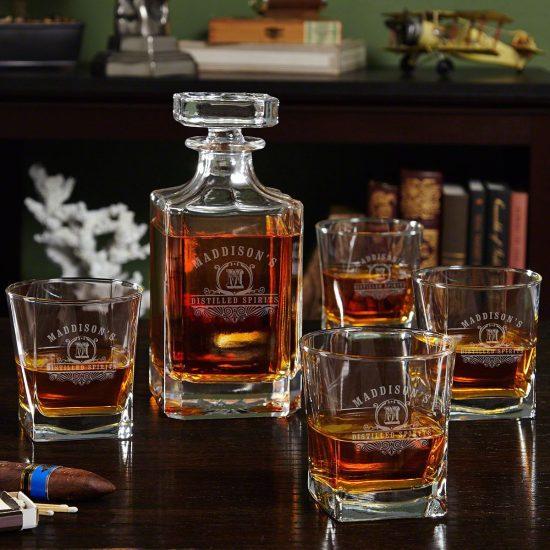 Custom Whiskey Decanter Drinkware Set