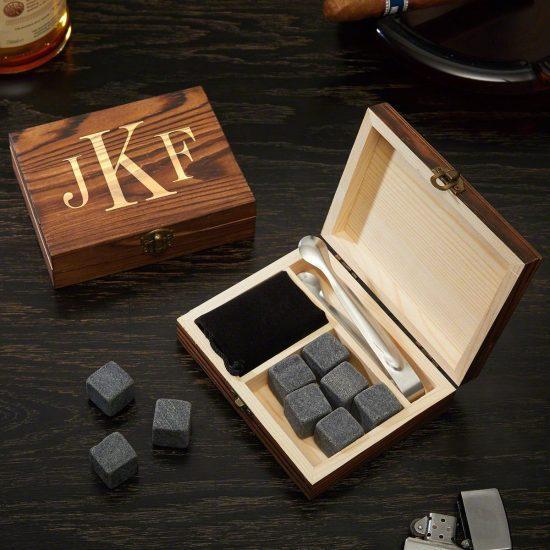Monogrammed Whiskey Stone Box Set