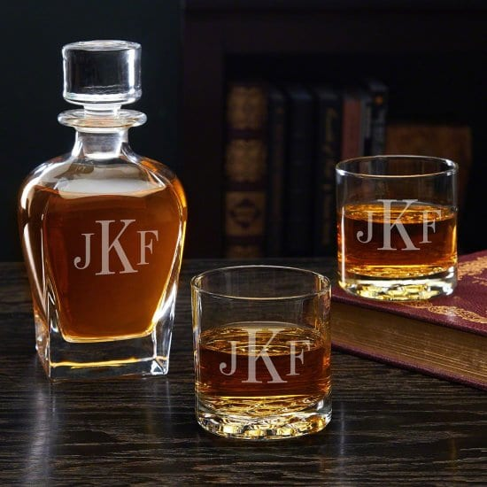 Monogrammed Decanter Set Cute Valentines Day Gift for Him
