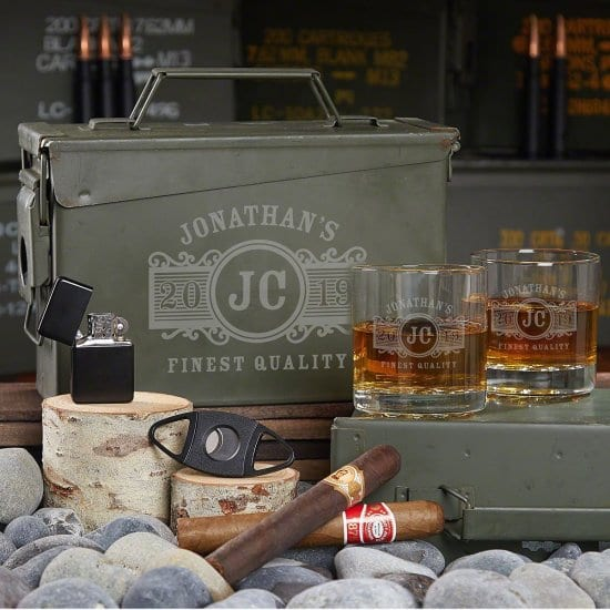 Engraved Ammo Can with Glasses and Cigar Accessories