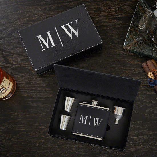 Monogrammed Flask Set with Shot Glasses