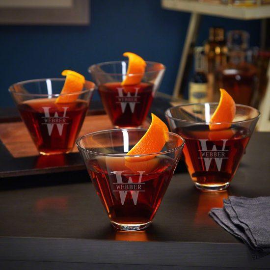 Engraved Stemless Martini Glasses