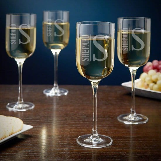 Personalized Tall White Wine Glass Set