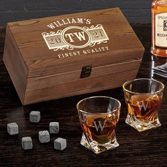 Custom Twist Glass Wooden Whiskey Box