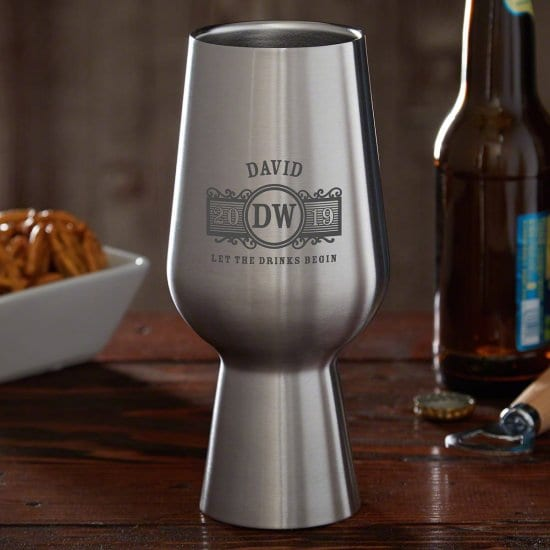 Engraved Stainless Steel Pint Glass