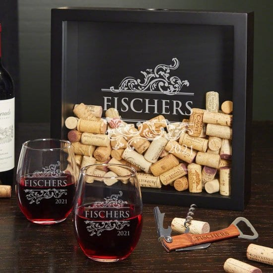 Personalized Shadow Box and Stemless Wine Glasses Set