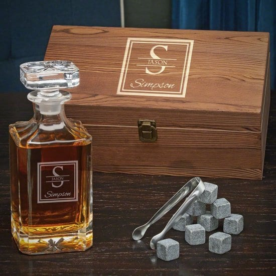 Engraved Decanter with Whiskey Stones