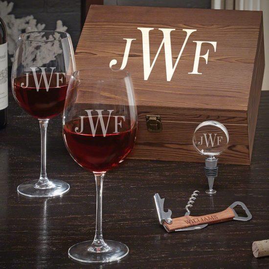 Monogrammed Wine Glass Gift Basket